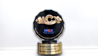 Received 'Pillars of Commodity Derivatives Market Award 2019-20' from MCX